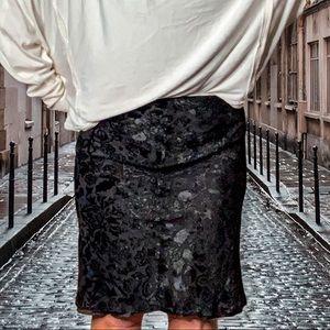 Like new Burberry Black Mid Length floral skirt